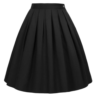 Occident Women's Floral Pattern Pleated Cotton Skirt