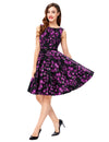 Grace Karin A Line Floral Print Sleeveless Swing Vintage Dress With Belt_Purple Rose
