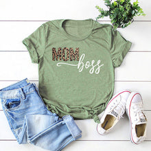 Load image into Gallery viewer, MOM boss Letter Print Casual Short Sleeve T-shirt