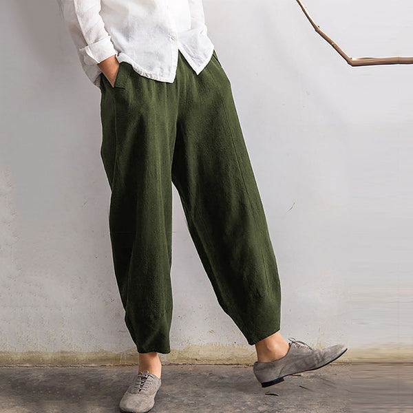 Women Ladies Solid Color Loose Trousers Fashion Autumn Casual Long Pants