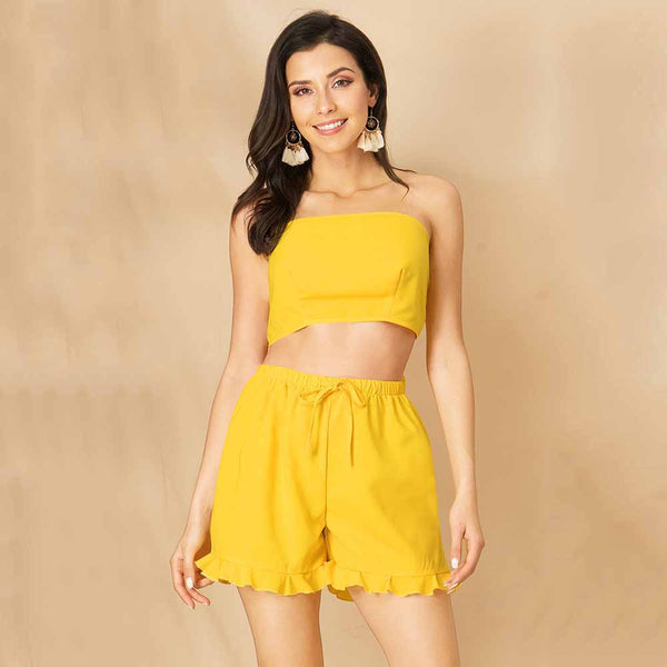 Women Summer Yellow Backless Lace-Up Off Shoulder Stringy Selvedge Tops+Shorts
