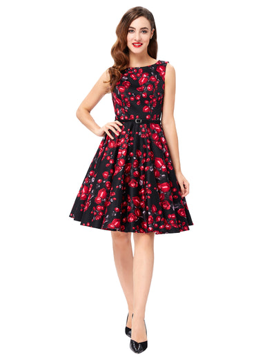 Grace Karin A Line Floral Print Sleeveless Swing Vintage Dress With Belt_Red Rose