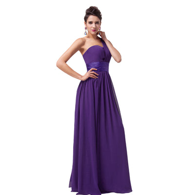 Grace Karin Full-Length Lace Up One Shoulder Ruffles Bridesmaid Wedding Party Evening Dress_Purple