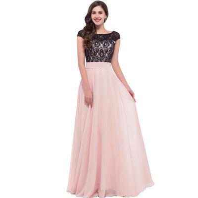 Grace Karin Backless Lace & Chiffon Ball Gown Cap Sleeve Evening Prom Party Dress_Pink