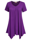 Grace Karin Women's Purple Loose Fit Short Sleeve V-Neck Irregular Hem High Stretchy Modal T-Shirt Tops