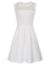 GRACE KARIN Sexy Women's Ivory Sleeveless Crew Neck Lace Patchwork A-Line Party Dress with open side-entry pockets