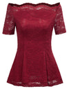 GRACE KARIN Sexy Women's Wine Red Short Sleeve Off the Shoulder High Stretchy A-Line Floral Lace Tops