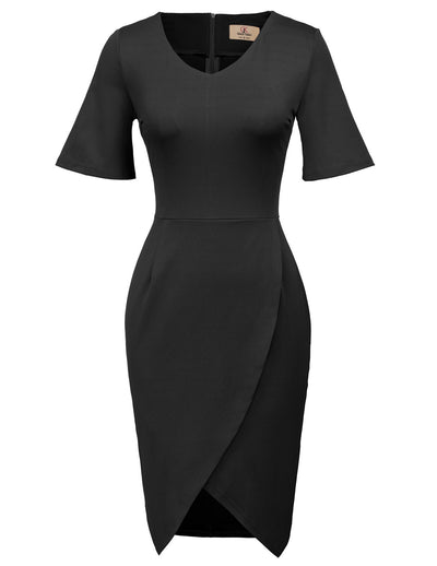 GRACE KARIN Women's Black Short Flared Cuffed Sleeve V-Neck Irregular Hem High Stretchy Hips-Wrapped Body-con Pencil Dress