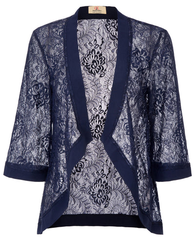 GRACE KARIN Women's Navy Blue Casual 3/4 Sleeve Open Front See-through Lace Cover-up Coat