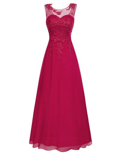 Grace Karin Women's Sleeveless Crew Neck V-Back Floor-Length Chiffon Ball Gown Evening Prom Party Dress with beading and appliques embellished_Wine Red