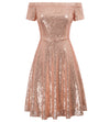 Stunning Women's Sequined Short Sleeve Off Shoulder A-Line Skater Dress