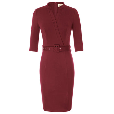 Women 3/4 Sleeve V-Neck Office Split Front Hips-Wrapped Bodycon Pencil Dress