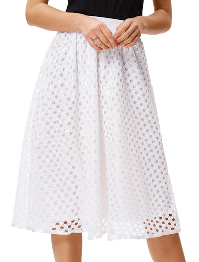 Ivory and Black High Waisted Punched Crochet Flared A-Line Skirt
