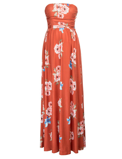 GRACE KARIN Orange Maternity Women's Floral Pattern Strapless Straight Neck High Stretchy Dress With Pockets