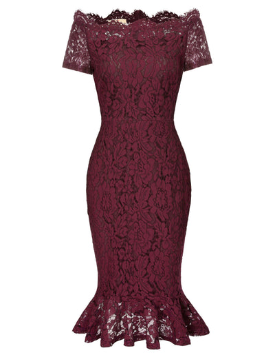 GRACE KARIN Sexy Women's Short Sleeve Off the Shoulder Hips-Wrapped Body-con Pencil Mermaid Exquisite Floral Lace Dress_Wine Red