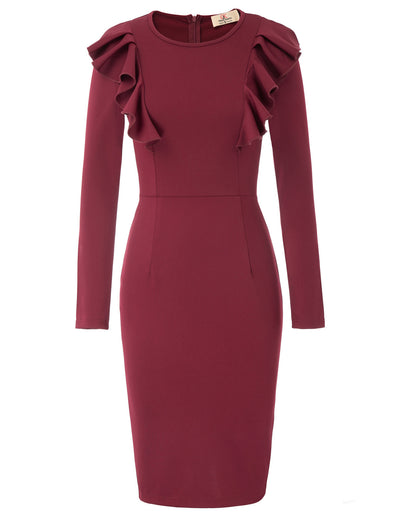 GK Women's Ruffle Decorated Hips-Wrapped Bodycon Dress