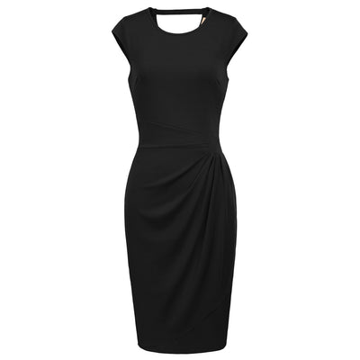 GRACE KARIN Women's Black Cap Sleeve Crew Neck Hollowed Back Ruffle Decorated High Stretchy Body-con Pencil Dress