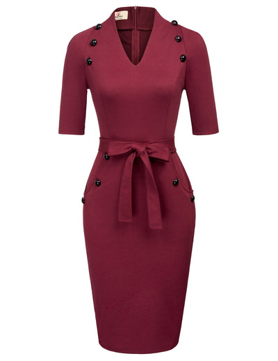 GRACE KARIN Women's Wine Red 1/2 Sleeve V-Neck Body-con Pencil Dress with 12pcs buttons decorated