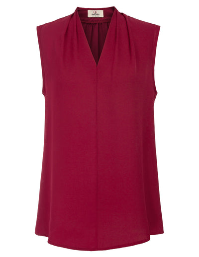 GRACE KARIN Wine Red Women's Basic Solid Color Sleeveless V-Neck Comfortable Chiffon Tops Blouse