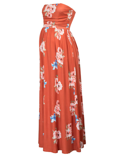 GRACE KARIN Orange Maternity Women's Floral Pattern Strapless Straight Neck High Stretchy Dress With Pocket