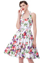 Floral Pattern Halter Sweetheart Swing Tea Dress