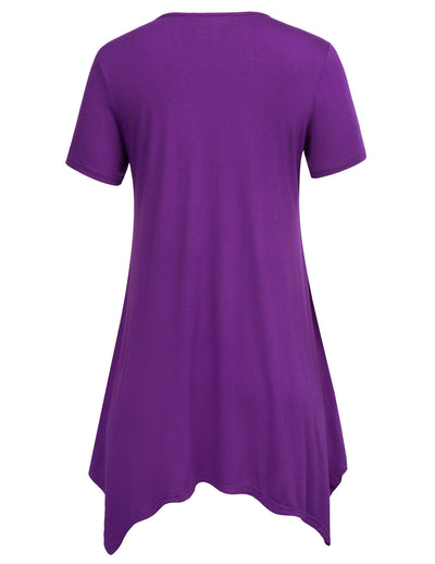 Purple and Black Loose Fit Short Sleeve High Stretchy T-Shirt Tops
