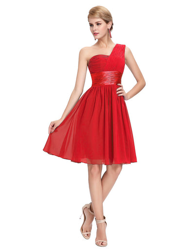 Grace Karin Ruffles One Shoulder Ball Gown Bridesmaid Homecoming Dress_Red