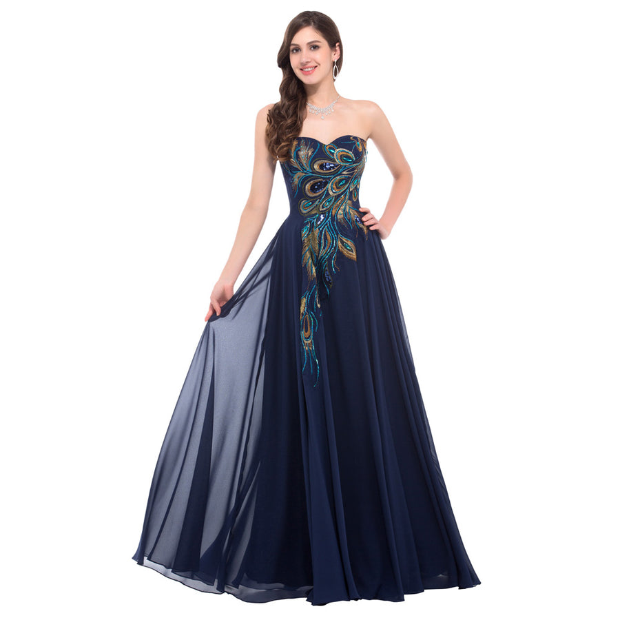 Navy Blue and Black Strapless Peacock Print Chiffon Ball Gown