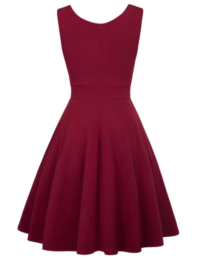 GRACE KARIN Women's Solid Wine Red Color Sleeveless V-Neck Flared A-Line Party Dress with concealed zipper in the back