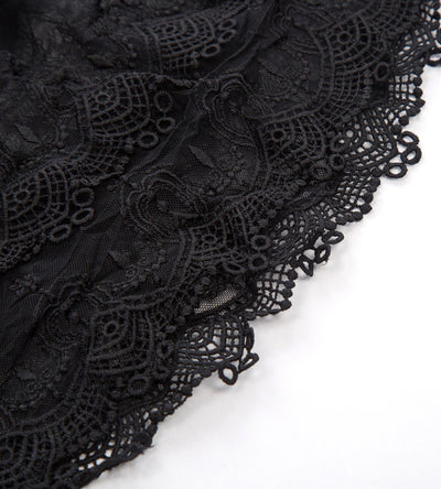 GK Women's Sheer Lace Trim Tops Extender Half Slip Mini Skirt