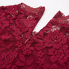 GRACE KARIN Sexy Women's Wine Red 3/4 Bell Sleeve Half High-Neck A-Line Lace Party Dress