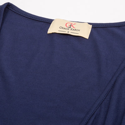 Navy Blue and Black Comfy 3/4 Sleeven Wrap Front Modal T-Shirt Tops