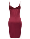 Spaghetti Straps V-Neck Wrap-Skirt Irregular Black and Wine Red Dress