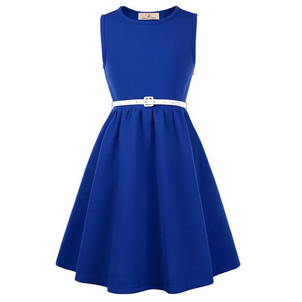 Girls Skater Dress - Sleeveless, Round Neck, A-Line - PRESALE