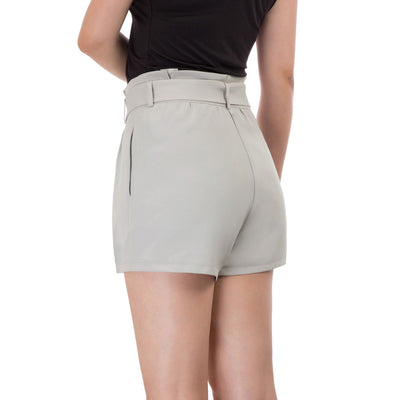 Women's Casual Solid Color Belt Decorated High Waisted Shorts Short Pants
