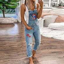 Load image into Gallery viewer, Women's Casual Slim Print Denim Rompers Jeans Jumpsuit Pocket Pants Overalls
