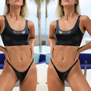 2pcs/Set Women's Sexy Shiny Separated Swimsuit Beach Holiday Bikini Swimwear