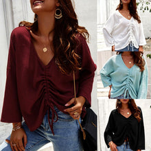 Load image into Gallery viewer, Women Long Sleeve V-Neck Pleated Solid Color Lace-Up Fashion Tops Blouse
