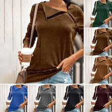 Load image into Gallery viewer, Women's Casual Loose Zipper Long Sleeve Tops Knitted Pullover T-Shirt Plus Size