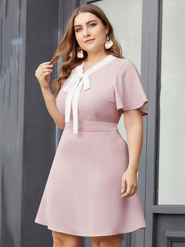 Frauen Sommer Rosa Bogen-Knoten V-Ausschnitt Kurzarm A-Line Fashion New Dress