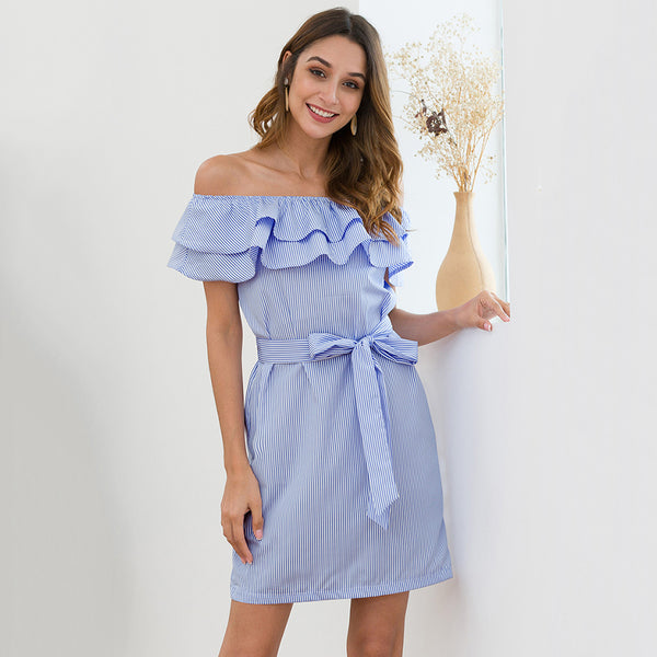 Women's Summer Blue Dress - Ruffled Lace-Up, Boat Neck