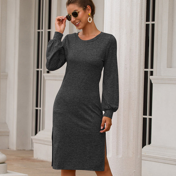 Women Split Knee-Length Dresses Long Puff Sleeve Round Neck Solid Color