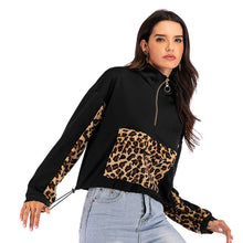 Load image into Gallery viewer, Women Casual Stitching Leopard Zipper V-neck Long Sleeve Loose Pullover Tops