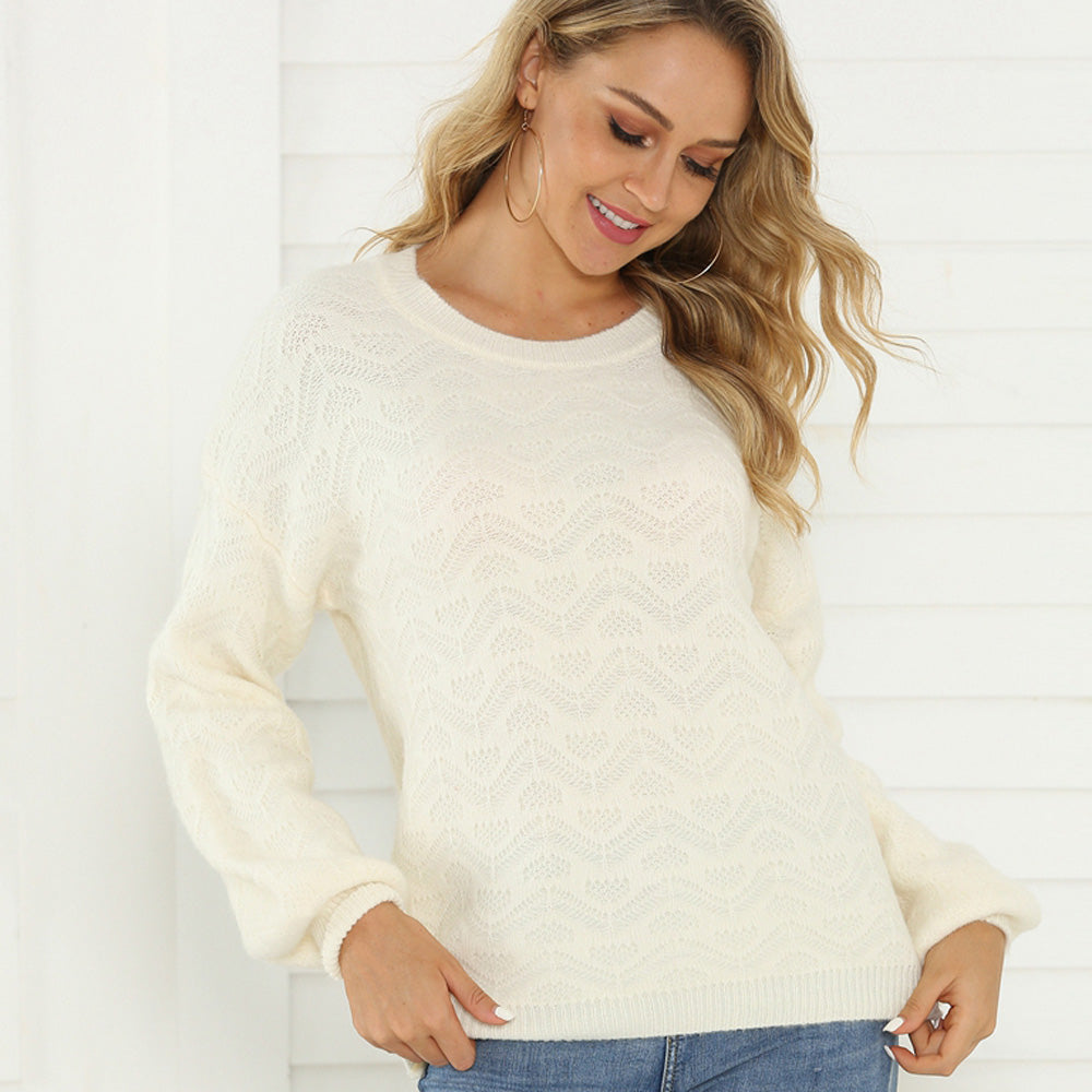 Women Round Neck Pullover Sweaters Long Puff Sleeve Loose Casual Warm