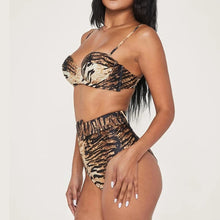 Load image into Gallery viewer, Sexy Tiger Print High Waist Bikini Split Swimsuit