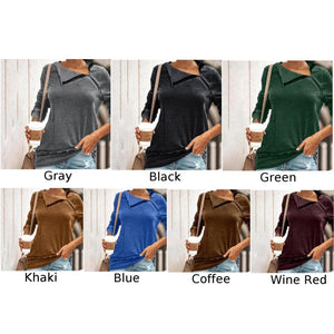 Women's Casual Loose Zipper Long Sleeve Tops Knitted Pullover T-Shirt Plus Size