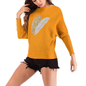 Women's Casual Round Neck Slim Print Sweater Long Sleeve Knitwear Pullover