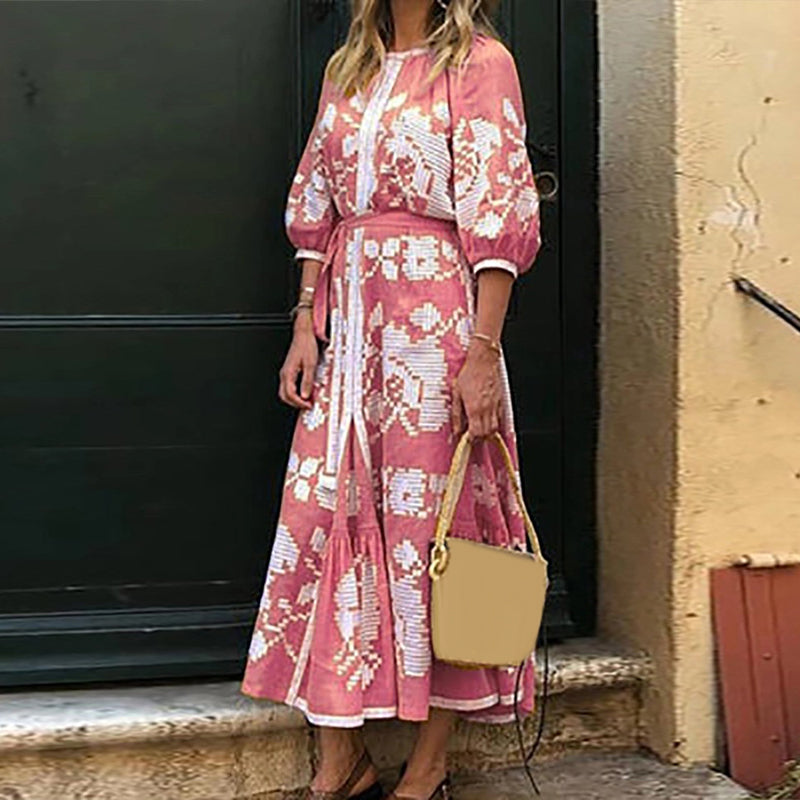 Casual femme Boho Floral col rond manches moitié robe robe Party Beach Holiday