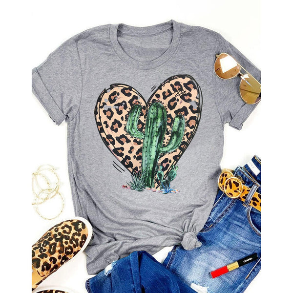 Leopard Cactus Heart Print Round Neck Short Sleeve T-Shirt - PRESALE