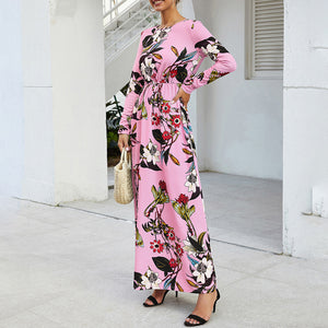 Women's Casual Round Neck Printed Dress Slim Long Sleeve Pocket Ankle-length